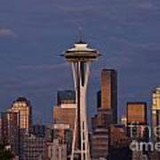 Seattle Skyline And Space Needle With City Lights Art Print