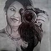 Selfie Pencil Sketch Art Print