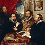 Selfportrait With Brother Philipp Justus Lipsius And Another Scholar Art Print