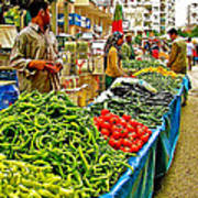 Selling Fresh Vegetables In Antalya Market-turkey Art Print