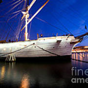 Ship At Night In Stockholm Art Print