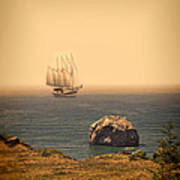 Ship Off The Coast Art Print