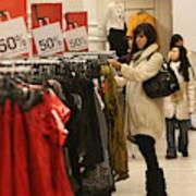 Shoppers Take Advantage Of Post Christmas Bargains Art Print