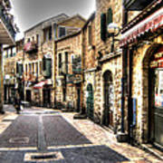 Quiet Shopping Street Before The Shops Open Art Print