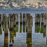 Shore Pilings At Fayette State Park Art Print