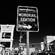 signpost for Las Vegas monorail station on las vegas boulevard Nevada USA Art Print