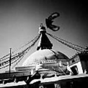 Silhouette Boudhanath Giant Buddhist Stupa In Kathmandu Himalaya Nepal  Art Print