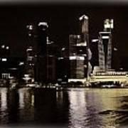 Singapore Skyline As Seen From The Pedestrian Bridge Art Print