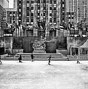 Skating At Rockefeller Plaza Art Print