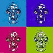 Skulls In Quad Colors Art Print
