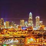 Skyline Of Uptown Charlotte North Carolina At Night Art Print