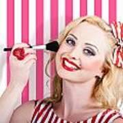 Smiling Makeup Girl Using Cosmetic Powder Brush Art Print