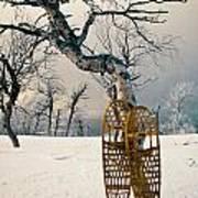 Snowshoes Leaning Against Birch Tree Snowscape Art Print
