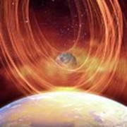 Solar Flare Hitting Earth Art Print