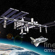 Space Station In Orbit Around Earth Art Print