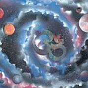 Spiral Galaxy Om Art Print
