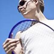 Sporting A Racquet Art Print