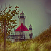 St. Joseph North Pier Lighthouse Lake Michigan. Art Print