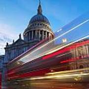 St. Pauls Cathedral And Light Trails Art Print by Mark Thomas