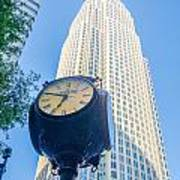 Standing By The Clock On City Intersection At Charlotte Downtown Art Print