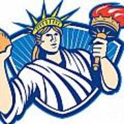 Statue Of Liberty Throwing Football Ball Art Print