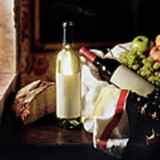 Still Life With Two Wine Bottles Art Print