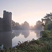 Stunning Moat And Castle In Autumn Fall Sunrise With Mist Over M Art Print