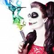 Sugar Skull Girl Blowing On Smoking Gun Art Print