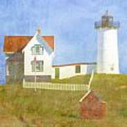 Sunny Day At Nubble Lighthouse Art Print by Carol Leigh