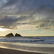 Sunset At Holywell Bay Art Print