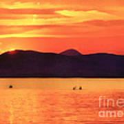 Sunset In The Balaton Lake Art Print
