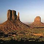 Sunset Light With Mittens And Desert In Monument Valley Arizona  Art Print