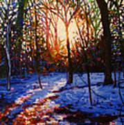 Sunset On Snow Art Print
