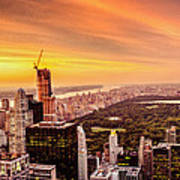 Sunset Over Central Park And The New York City Skyline Art Print
