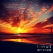 Sunset Puddle Reflections Art Print