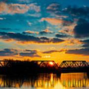 Sunset Railroad Bridge Art Print