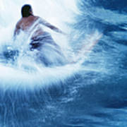 Surfer Carving On Splashing Wave, Interesting Perspective And Blur Art Print