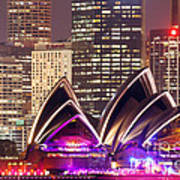Sydney Skyline At Night With Opera House - Australia Art Print