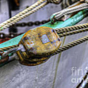 Tall Ship Wooden Line Block Art Print