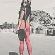 Tall Young Black Woman Modelling Handbag Accessory Art Print
