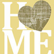 Tampa Street Map Home Heart - Tampa Florida Road Map In A Heart Art Print