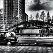 Taxi At Canary Wharf Art Print