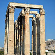Temple Of Olympian Zeus And Acropolis In Athens Art Print