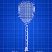 Tennis Racket Patent 1887 - Blue Art Print