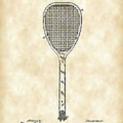 Tennis Racket Patent 1887 - Vintage Art Print