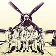 Test Pilots With P-47 Thunderbolt Fighter Art Print