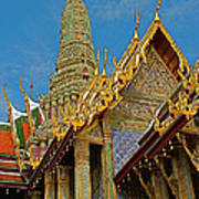Thai-khmer Pagoda At Grand Palace Of Thailand In Bangkok Art Print