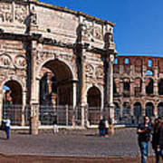 The Arch Of Constantine And Colosseum Art Print