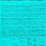 The Declaration Of Independence In Turquoise Art Print by Rob Hans