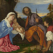 The Holy Family With A Shepherd Art Print